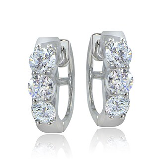 ICZ Stonez Sterling Silver Cubic Zirconia Round Hoop Earrings