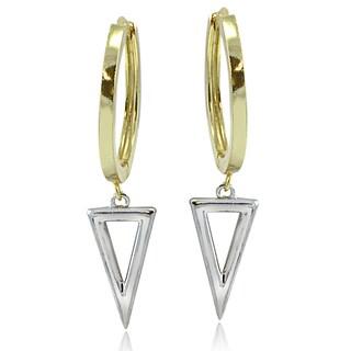 Mondevio Sterling Silver Two-Tone Triangle Drop Hoop Earrings