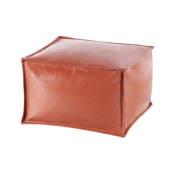 Anaei Large Faux Leather Square Pouf Ottoman Free