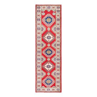 Herat Oriental Afghan Hand-knotted Tribal Vegetable Dye Kazak Wool Runner (2'8 x 9'6)