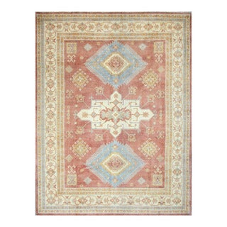 Herat Oriental Afghan Hand-knotted Tribal Vegetable Dye Kazak Rust/ Ivory Wool Rug (8'11 x 11'8)