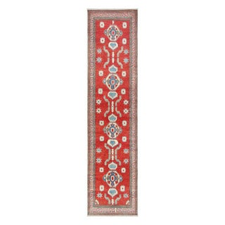 Herat Oriental Afghan Hand-knotted Tribal Vegetable Dye Kazak Red/ Ivory Wool Rug (2'8 x 11'3)