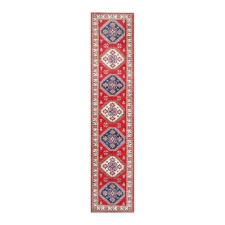 Herat Oriental Afghan Hand-knotted Tribal Vegetable Dye Kazak Red/ Ivory Wool Rug (2'9 x 12'11)