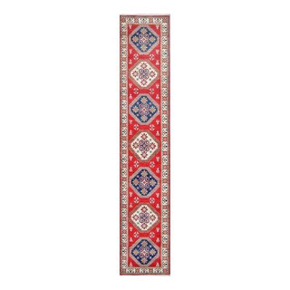 Herat Oriental Afghan Hand-knotted Tribal Vegetable Dye Kazak Red/ Ivory Wool Rug (2'7 x 13'11)