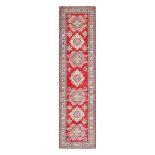 Herat Oriental Afghan Hand-knotted Tribal Vegetable Dye Kazak Red/ Ivory Wool Rug (2'11 x 11'10)