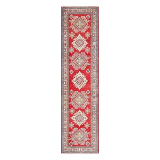 Herat Oriental Afghan Hand-knotted Tribal Vegetable Dye Kazak Wool Runner (2'11 x 11'10)