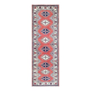 Herat Oriental Afghan Hand-knotted Tribal Vegetable Dye Kazak Red/ Ivory Wool Rug (3' x 9'2)