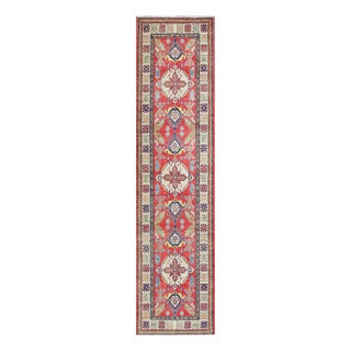 Herat Oriental Afghan Hand-knotted Tribal Vegetable Dye Kazak Red/ Ivory Wool Rug (2'9 x 11'3)