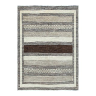 Herat Oriental Afghan Hand-knotted Tribal Vegetable Dye Gabbeh Gray/ Ivory (5'6 x 7'10)