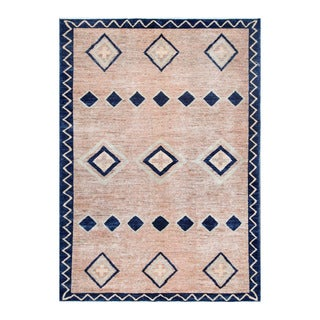 Herat Oriental Afghan Hand-knotted Tribal Vegetable Dye Gabbeh Peach/ Navy (5'7 x 7'10)