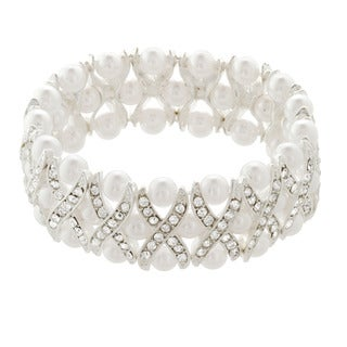 Alexa Starr Silvertone Glass Pearl and Crystal X Design Bracelet