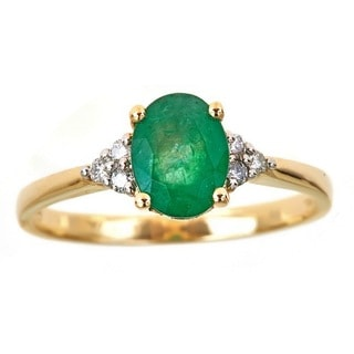 Anika and August 14k Yellow Gold Oval-cut Emerald and 1/10ct TDW Diamond Ring (G-H, I1-I2)