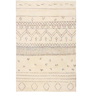 Hand-knotted Moroccan Beni Ourain Misa Wool Beige Rug (5' x8')