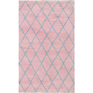 Hand-knotted Moroccan Beni Ourain Wool Pink Rug (5' x8')