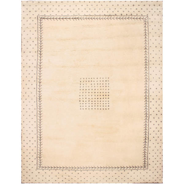 Hand-knotted Moroccan Beni Ourain Dara Wool Ivory Rug - 9' x12'