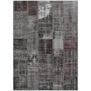 Hand-knotted Vintage Patchwork Overdyed Charcoal Wool Rug (5.8' x8')