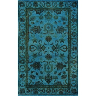 Hand-knotted Aqua Breeze Wool Overdyed 12249 Rug (3' x5')