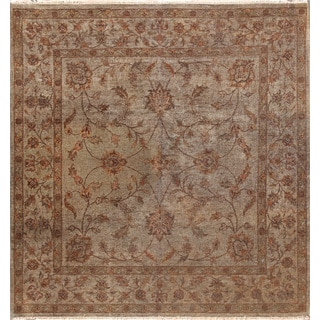 Hand-knotted Overdyed Brown Wool Rug (5'6 x 5'6)