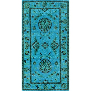 Hand-knotted Traditional Overdyed Light Blue Wool Rug (2.6' x5')