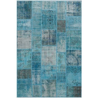 Hand-knotted Vintage Patchwork Overdyed Blue Wool Rug (6.8' x10')