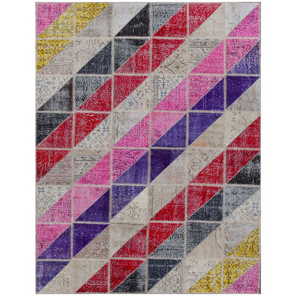 ABC Accents Hand-knotted Vintage Patchwork Overdyed Multi