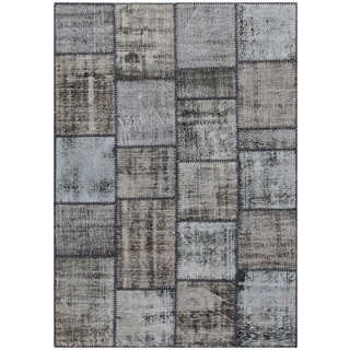 Hand-knotted Vintage Patchwork Overdyed Black Wool Rug (5.3' x7.7')
