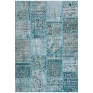 Hand-knotted Vintage Patchwork Overdyed Aqua Wool Rug (5.3' x7.7')