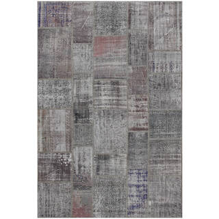 Hand-knotted Vintage Patchwork Overdyed Grey Wool Rug (6.8' x10')