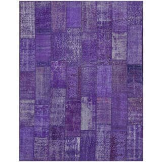 Hand-knotted Vintage Patchwork Overdyed purple Wool Rug (7.5' x9.9')