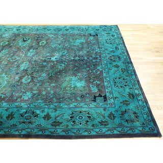 Hand-knotted Vintage-Style Overdyed Persian Blue Rug