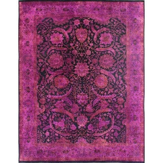 Hand-knotted Plum Wool Overdyed Rug