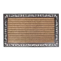 Rubber And Coir Molded Hand Finished Large Double Door Mat, Striped Coir (2'6 x 4')