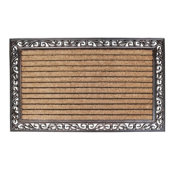 Rubber And Coir Molded Hand Finished Large Double Door Mat Striped 2
