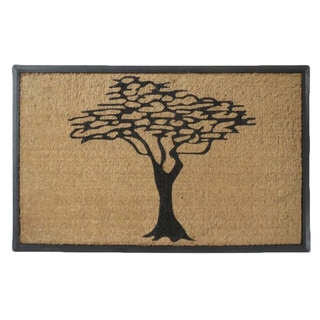 Hand-crafted Modern Tree Design Rubber and Coir Double Doormat (2'6 x 4')