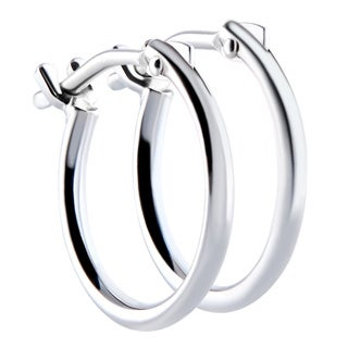 Pori 14k White Gold 2x10mm Circle Hoop Earrings