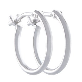 Pori 10k White Gold 2x10mm Circle Hoop Earrings