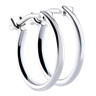 Pori 18k White Gold 2x10mm Circle Hoop Earrings