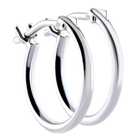Pori 18k White Gold 2x10mm Circle Hoop Earrings