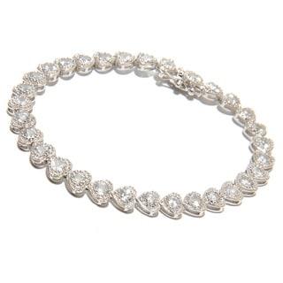 Platinum over Sterling Silver White Zircon Tennis Bracelet