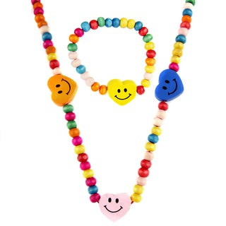 Little Girl Multi-colored Wooden Happy Heart Jewelry Set with Necklace and Bracelet