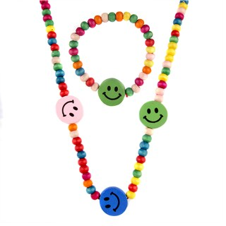 Little Girl Wooden Smiley Face Jewelry Set