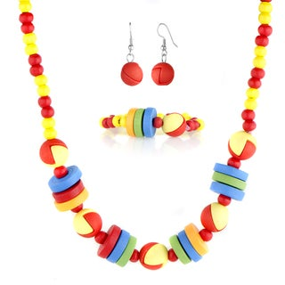 Little Girl Colorful Wooden Jewelry Set