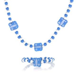 Blue Wooden Butterfly Necklace and Bracelet Set