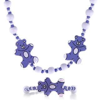 Purple Wooden Teddy Bear Necklace and Bracelet Set