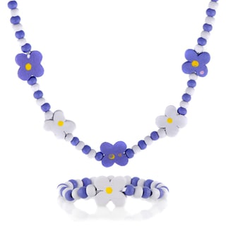 Purple Wooden Flower Necklace and Bracelet Set
