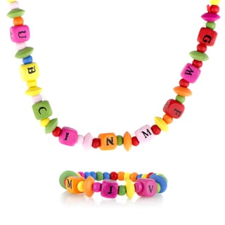 Multicolor Wooden Alphabet Necklace and Bracelet Set