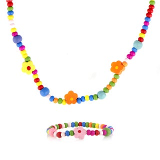 Multicolor Wooden Petite Flower Necklace and Bracelet Set