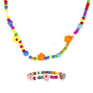 Multicolor Wooden Petite Flower Necklace and Bracelet Set