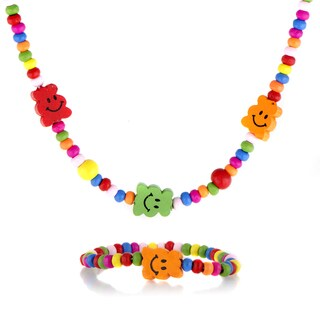 Multicolor Wooden Happy Face Necklace and Bracelet Set