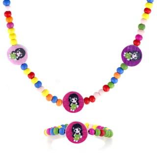 Multicolor Wooden Little Girl Necklace and Bracelet Set
